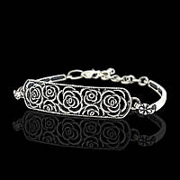 Красивый серебряный браслет розами безразмерный