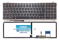 Оригинальная клавиатура для ноутбука HP Envy M6-K, M6-K000, M6-K100 series, ru, black, серебристая рамка