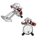 Запонки Барабан, Красные барабаны - для музыкантов и любителей шумной музыки, фото 3