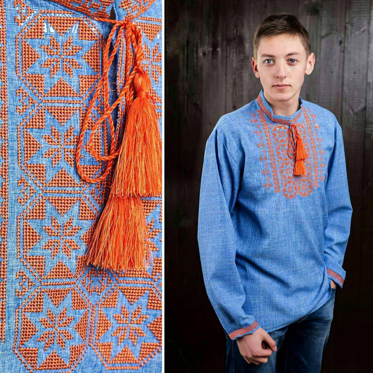 Нарядная вышитая рубашка мужчинам, габардин, 350/300 (цена за 1 шт. + 50 гр.)