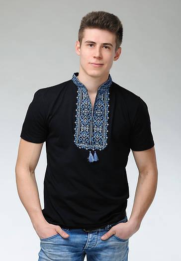 Черная мужская футболка с вышивкой