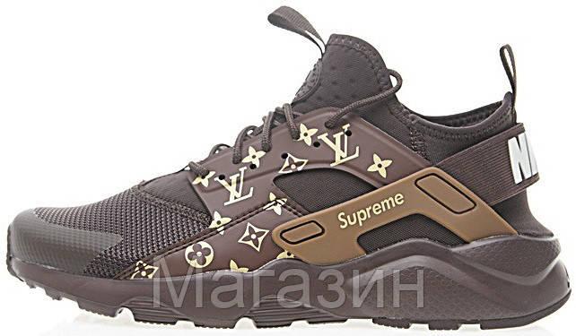 "Женские кроссовки Nike Air Huarache Ultra LV x Supreme ""Brown"" (в стиле Найк Хуарачи) коричневые"