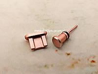 Комплект заглушек в разъем для наушников 3,5 мм и micro USB для смартфона Android, rose gold, розовый