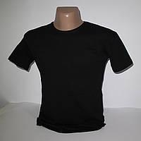 Мужская черная однотонная футболка Батал Lycra пр-во Турция 2890G