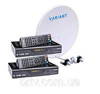 Комплект для сутникового ТВ на 3 спутника для 2-х ТВ «Горыныч» SD2