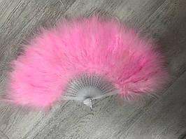 Веер из перьев лебедя. Цвет розовый.