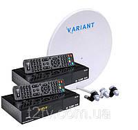 Комплект для сутникового ТВ на 3 спутника для 2-х ТВ «Горыныч» SD2+