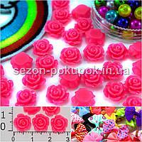 "(20 шт) Серединки,кабошоны ""Розочка мал."" d=1см Цена за упаковку Цвета - Розовый яркий"