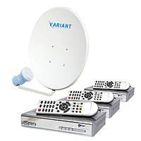 Комплект для сутникового ТВ на 1 спутник для 3-х ТВ «Для Дачи» SD3