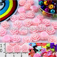 """(20 шт) Серединки,кабошоны """"Розочка мал."""" d=1см Цена за упаковку Цвета - Нежно-розовый"""