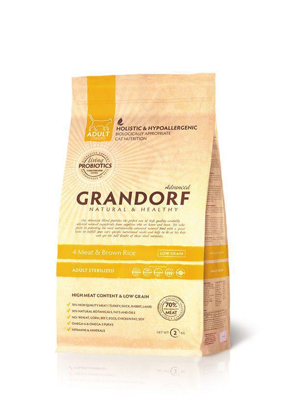 Grandorf Living Probiotics 4 Meat & Brown Rice sterilized 4 вида мяса для стерилизованных кошек, 0,4кг