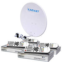 Комплект для сутникового ТВ на 3 спутника для 4-х ТВ «Горыныч» SD4