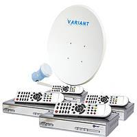 Комплект для сутникового ТВ на 1 спутник для 4-х ТВ «Для Дачи» SD4