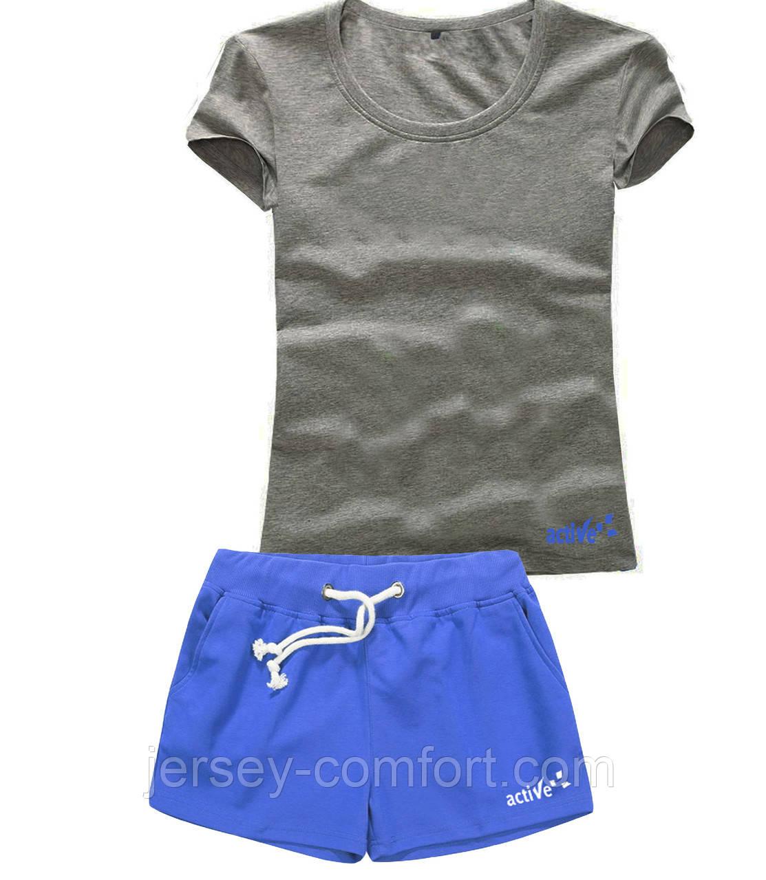 Шорты женские и футболка, комплект. Размеры 40-56.Мод. М-28..