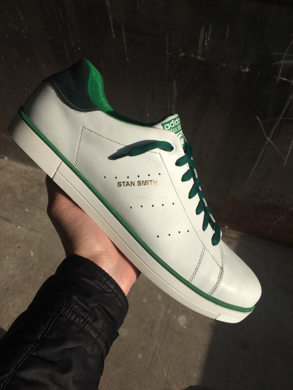 Мужские кеды Adidas Stan Smith.Кожа,былые с зеленым