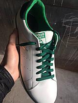 Мужские кеды Adidas Stan Smith.Кожа,былые с зеленым , фото 3