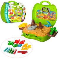 Пластилин MK 1128 (18шт) 5цветов,парк динозавров, формочки, инструм, 26дет, в чемодане,24-22-10см