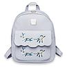 Женский рюкзак серый с нашивкой цветы, фото 3