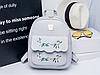 Женский рюкзак серый с нашивкой цветы, фото 10
