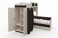 """Многофункциональная двухъярусная кровать """"Баффи"""" Бежевая-Венге"""