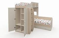 """Многофункциональная двухъярусная кровать """"Баффи"""" Бежевая-Дуб молочный"""