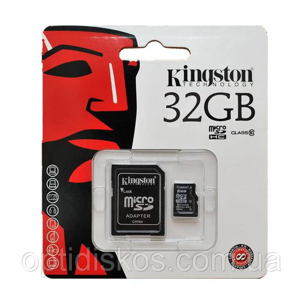 Карта памяти Kingston microSDНС 32 GB card Class10 + SD adapter