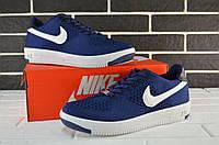 Кроссовки мужские низкие Nike Air Force Flyknit  Low blue (аир форс, реплика), фото 1