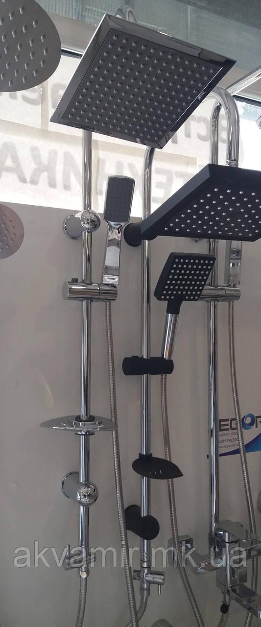 Душевая стойка NOVA Berlin с тропическим душем (Турция) квадратная лейка