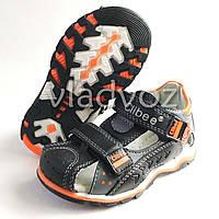 Босоножки, сандалии для мальчика черные с оранж кожа Clibee 28р.