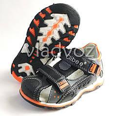 Детские босоножки, сандалии для мальчика черные с оранж кожа Clibee 25р.