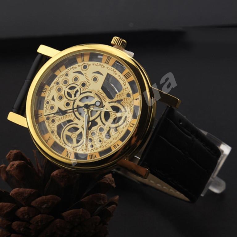 Кварцевые мужские часы скелетоны Gold Black