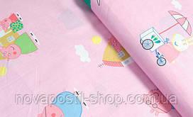 Свинка Пеппа на розовом, детское постельное белье из сатина
