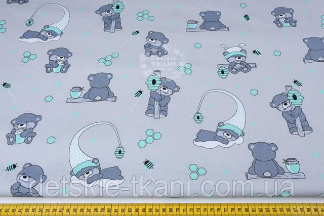 Ткань бязь с изображением мишек