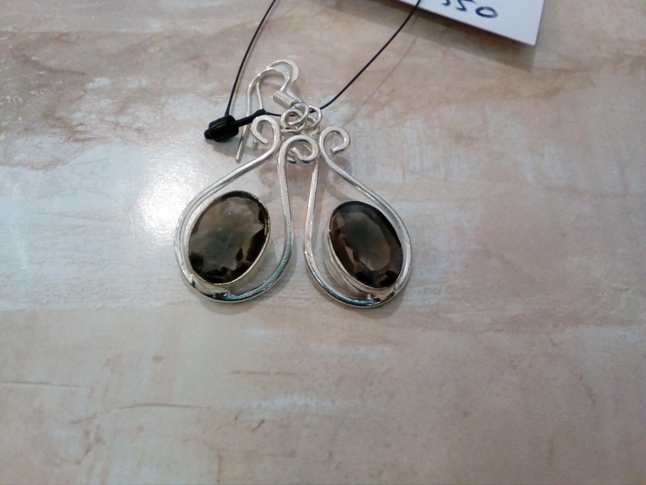 Элегантные серьги - раухтопаз (дымчатый кварц). Серьги с раухтопазом в серебре.