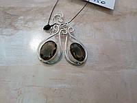 Элегантные серьги - раухтопаз (дымчатый кварц). Серьги с раухтопазом в серебре., фото 1