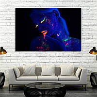 2782 Portrait of Beautiful Fashion Woman in Neon UF Light. Model Girl with Fluorescent Creative Psychedelic Ma