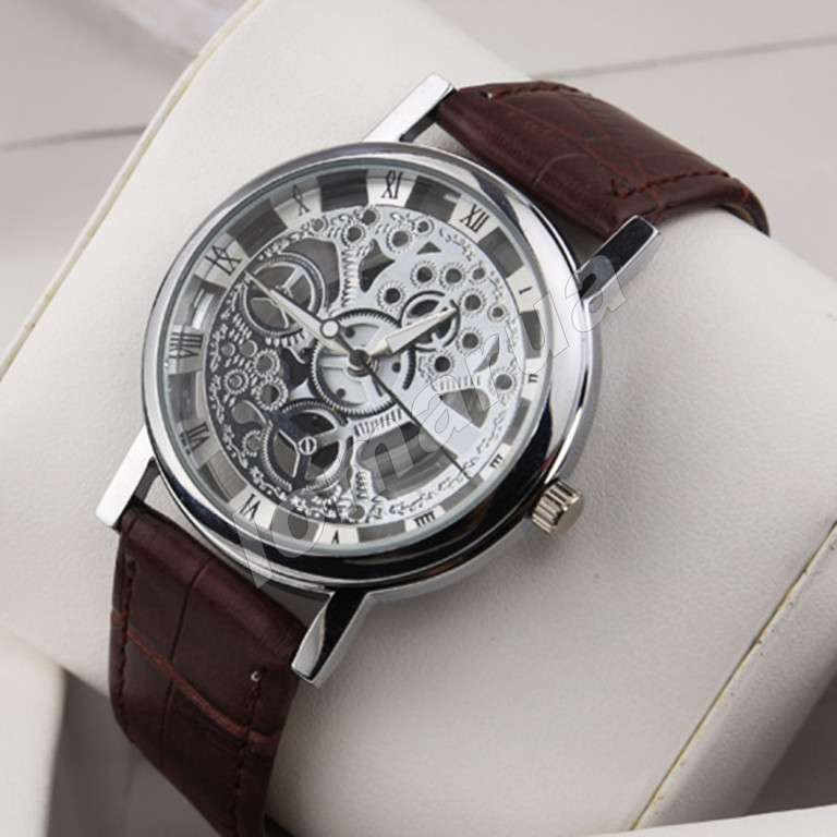 Кварцевые мужские часы скелетоны Silver Brown