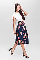 Универсальная юбка со складками URBAN SASH темно-синяя в цветы