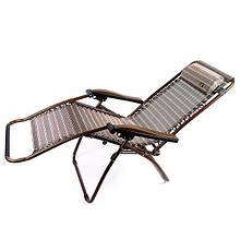 Шезлонг c подушкою розкладний садової 200х74 см до 110 кг з підголовником туристичне крісло лежак