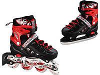 Раздвижные ледовые коньки 2 в 1 Scale Sports Neo X DUO Красные все размеры