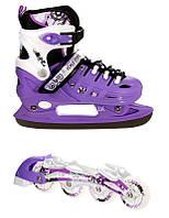 Раздвижные ледовые коньки 2 в 1 Scale Sports Neo X DUO Фиолетового цвета