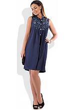 Сукня сорочка на літо синього кольору розміри від XL ПБ-134