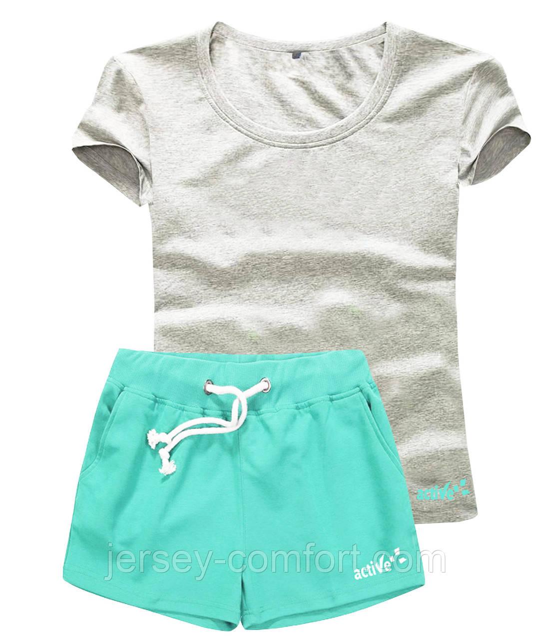 Женские шорты и футболка, комплект. Размеры 40-56.Мод. М-28..