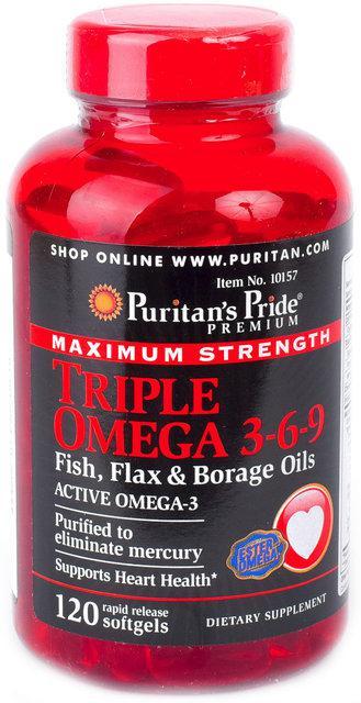 Риб'ячий жир Puritan's Pride Triple Omega 3-6-9 120 softgels