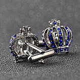 Запонки Корона, синяя корона -  подарок истинным королям , фото 2