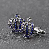 Запонки Корона, синяя корона -  подарок истинным королям , фото 3