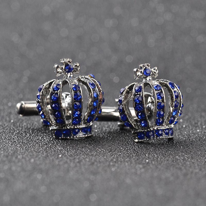 Запонки Корона, синяя корона -  подарок истинным королям