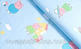 Свинка Пеппа на голубом, детское постельное белье из сатина