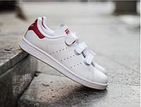 Кроссовки Stan Smith белые на липучке Adidas Originals S80041 стэн смит