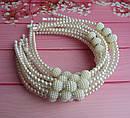Обручі для волосся перли зі стразами білі 12 шт/уп, фото 3